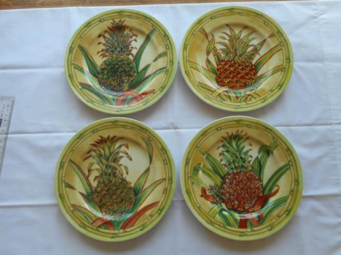 """Set of 4 Pineapple Collection by Shiddhia Hutcinson Plates - Andrea by Sadek made in Japan 9 1/2"""" https://ctbids.com/#!/description/share/132627"""