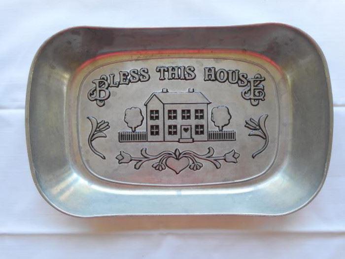 "Wilton Armetale bread tray ""Bless this House"" 11 x 7"" https://ctbids.com/#!/description/share/133134"