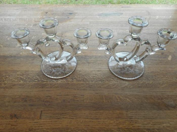 """Set of 2 etched 3 light candle holders, 6"""" tall https://ctbids.com/#!/description/share/132493"""