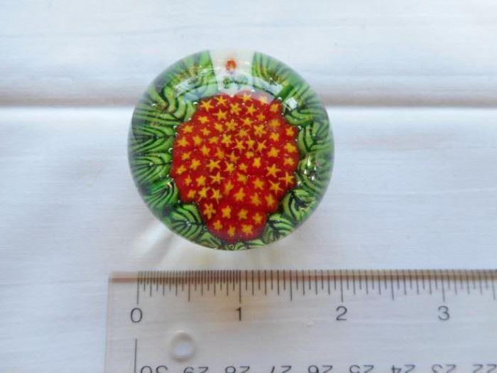 """Vintage Pairpoint glass paperweight, red w/yellow stars, green edge 1 3/4"""" https://ctbids.com/#!/description/share/132653"""