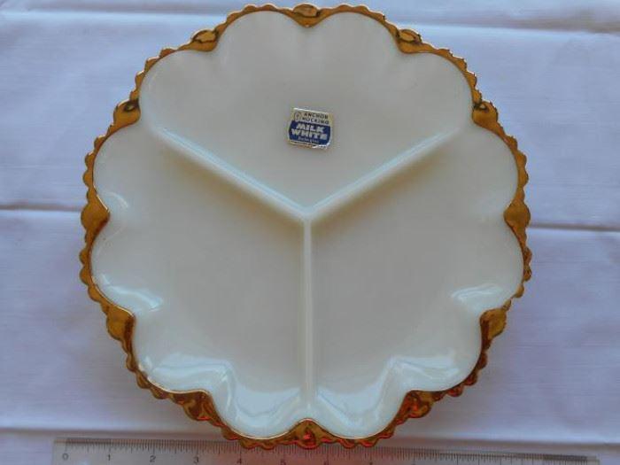 vintage Anchor Hocking milk white w/gold edge divided dish          https://ctbids.com/#!/description/share/133141