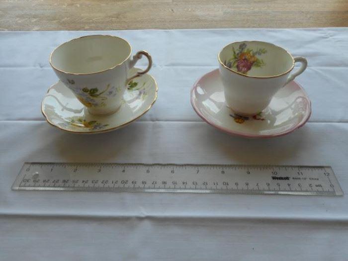 Set of 2 vintage English bone china tea cup & saucer sets- Regency & Royal Stafford https://ctbids.com/#!/description/share/132666
