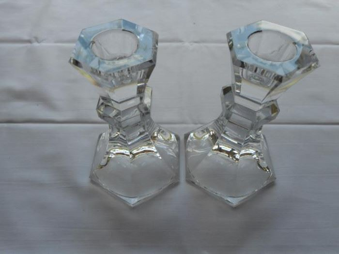 """Set of 2 Crystal Candle Holders 5"""" tall https://ctbids.com/#!/description/share/133004"""