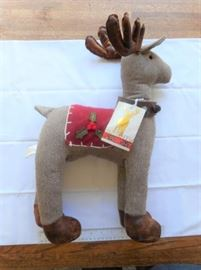 """Leather and fabric """"Be Merry Be Bright"""" holiday deer decoration 20"""" tall https://ctbids.com/#!/description/share/133018"""