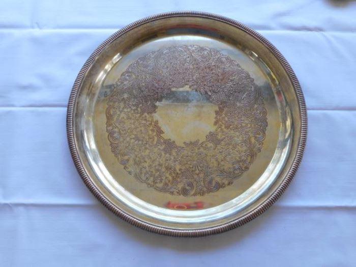 "Vintage International Silver Co. silver plate 12"" platter https://ctbids.com/#!/description/share/132541"