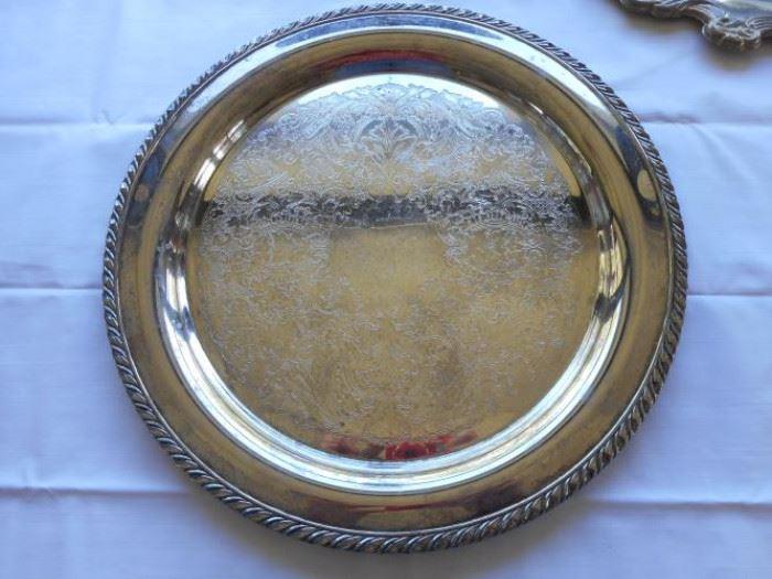 "Vintage Oneida silver plate platter 14 3/4"" dia https://ctbids.com/#!/description/share/132544"