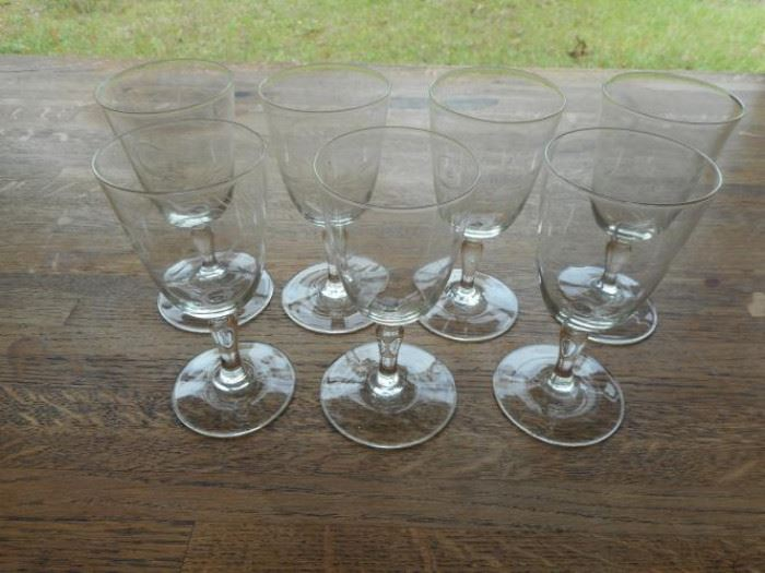 Vintage set of 7 wheat pattern cordial glasses from 1950's https://ctbids.com/#!/description/share/132555