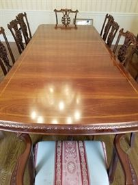 FORMAL DINING ROOM SET WITH TABLE PADS 10 CHAIRS AND 1 LEAF FOR  $ 2400.00