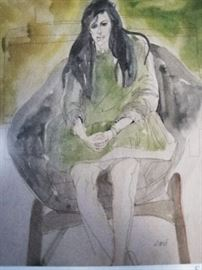 Watercolor on paper Seated Woman Artist: Sari Staggs