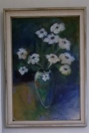 Acrylic on canvas White flowers in vase Artist: Sari Staggs