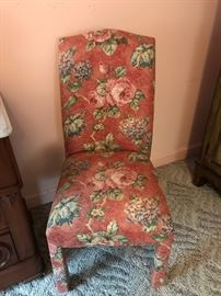 Lovely pair of floral side chairs.