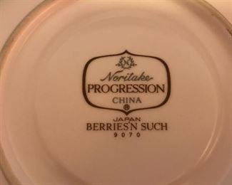 "Noritake Progressions china, ""Berries'n Such""pattern."