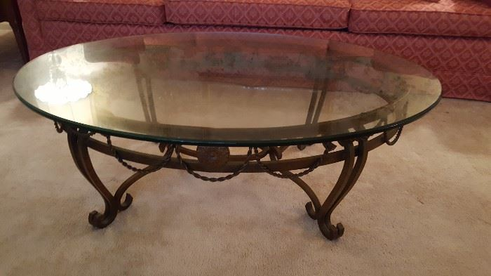 Metal glass top coffee table