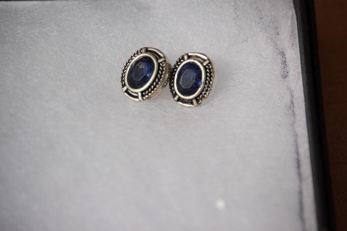 Sterling Blue Sapphire Pendant & Earrings