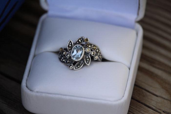 Sterling Art Deco Flower Ring