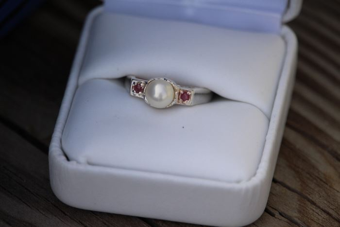 Sterling Pearl & Pink Topaz Ring
