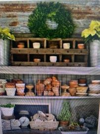 We have tons of these items at The Barn...Clay Pots...Planters...Metal Baskets