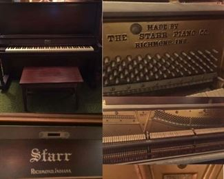 UP-RIGHT ANTIQUE PIANO IN GOOD CONDITION WITH BENCH