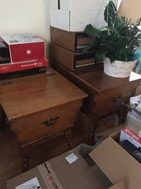 Ethan Allen Dough End Tables. Loads of storage!