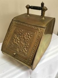 Brass and Metal Coal Scuttle Bin with Tools