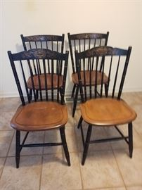 Four Hitchcock Black Side Chairs