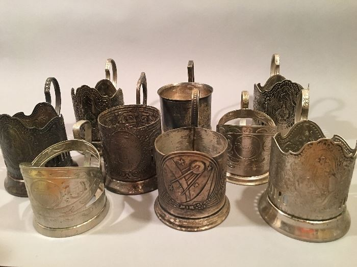 Vintage Russian Silver Plate Art Deco Tea Glass Holders