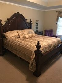 Beautiful Cherry Bedroom Set (made in Vietnam) Includes: Headboard, Footboard, Mattress, Box Springs, Bedding, Dresser/Mirror, Chest of Drawers, 2 Marble-Top Night Stands