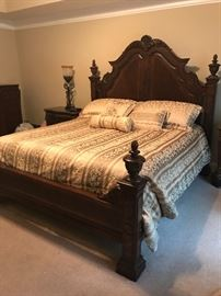 Beautiful Bedroom Set Includes: Headboard, Footboard, Mattress, Box Springs, Bedding, Dresser/Mirror, Chest of Drawers, 2 Marble-Top Night Stands