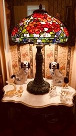 Dale Tiffany Lamp - Staffordshire Dogs - Vintage Murano Glass Birds