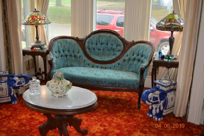 Victorian parlor Set, Dale Tiffany lamps, Asian Elephants, Antique Marble Top Victorian coffee table