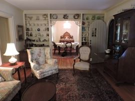 antique furniture, rugs and antique glass