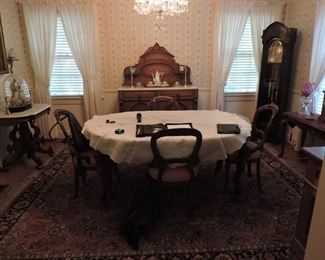 antique Victorian dinning room furniture and many decorative items