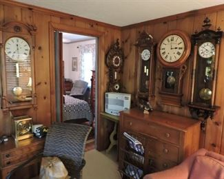 many antique chest and tables