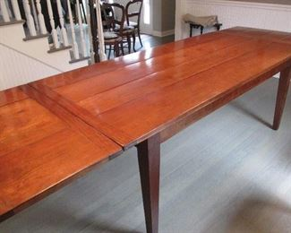CLASSIC STYLE FRENCH FARM TABLE Circ 1900 OLD PLANK ROAD ANTIQUES 36' x 72'  two 18' EXTENTIONS