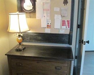 ANTIQUE DRESSOR HANDPAINTED & ANTIQUE DRESSER MIRROR HANDPAINTED, AND CONVERTED TO A BULLETIN BOARD