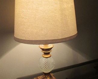 TABLE LAMP WITH CRYSTAL BALL AND GOLD ACCENTS