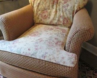 SHABBY CHIC CHAIR TWO PATTERN UPHOLSTERY