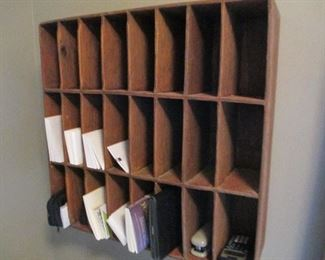COUNTRY POST OFFICE WOODEN MAIL SORTING CABINET
