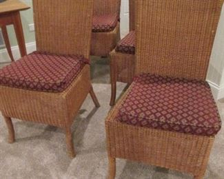 RATTAN DINING CHAIRS (set of 4) with custom cushions ROOM & BOARD