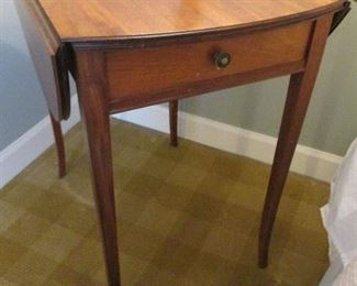 DROP LEAF SIDE TABLE WITH SINGLE DRAWER