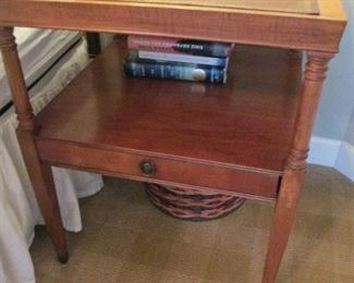 TWO TEIR SIDE TABLE WITH LEATHER INLAY SINGLE DRAWER