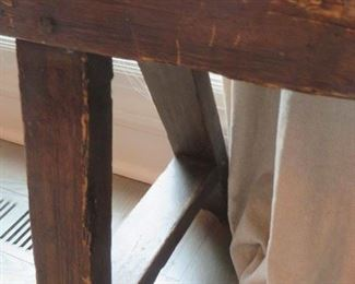 FRENCH FARM BENCH Circ 1900 OLD PLANK ROAD ANTIQUES