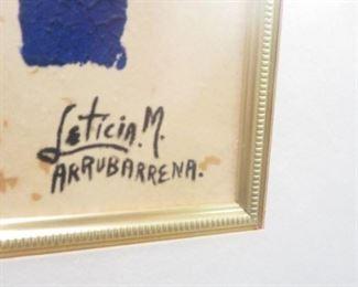 FRAMED ARTWORK LETICIA M. ARRUABARRENA (signature)