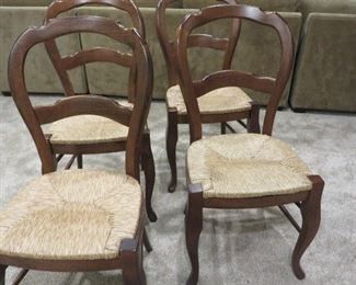 FRENCH DINING CHAIRS CURVED TOPRAIL WITH CABRIOLE LEGS  (set of 4) RUSH SEATS - MAHONGANY FINSH POTTERY BARN