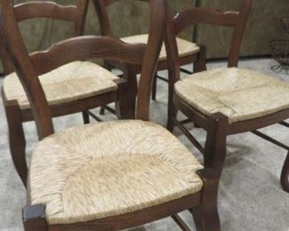 FRENCH DINING CHAIRS CURVED TOPRAIL WITH CABRIOLE LEGS  (set of 4) RUSH SEATS POTTERY BARN