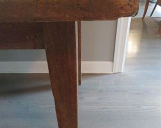 ANTIQUE WOOD DINING TABLE  (detail)
