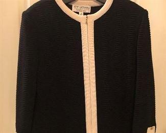 St. John Black & Ivory Knit Jacket Size 8