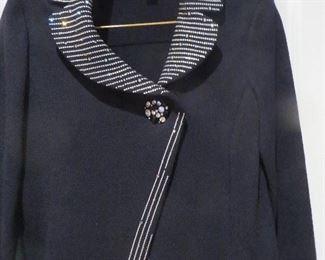 St. John Evening Black Santana Knit Paillette Jacket Size 2
