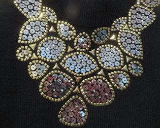 St. John Knit Eveniing Dress Embellished Neck and Cuffs Size 8 (detail)