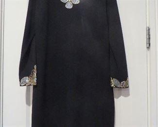 St. John Knit Eveniing Dress Embellished Neck and Cuffs Size 8